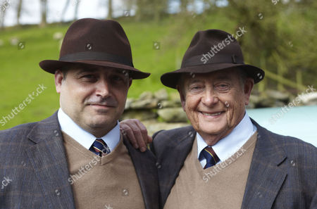 Behind the scenes filming Derek Fowlds and stunt double