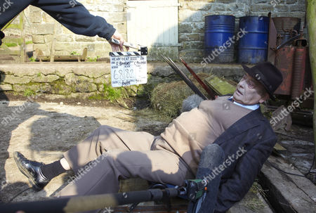 Behind the scenes filming Derek Fowlds