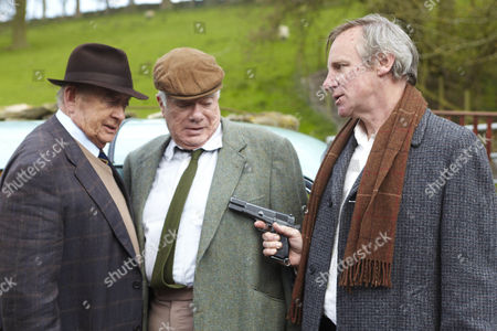 Stock Picture of Nicholas Farrell as Gordon Buckley, Derek Fowlds as Oscar and William Simons as Alf.