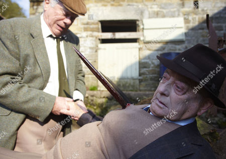 William Simons as PC Alf Ventress and Derek Fowlds  as Oscar Blaketon impaled