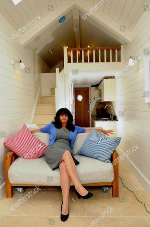 Estate agent Katherine Edwards of Bradleys  in the beach hut