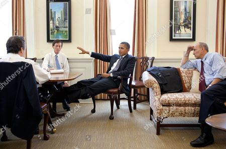 President Barack Obama meets with senior advisors in the Chief of Staff's West Wing Office at the White House, to discuss ongoing efforts in the debt limit and deficit reduction talks. from left, are: National Economic Council Director Gene B Sperling ; Bruce Reed, Chief of Staff to the Vice President; and Phil Schiliro, Assistant to the President and Special Advisor.