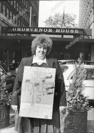 Stock Picture of Chambermaids Picket Outside London's Grosvenor House Hotel In London. Ellen Gallagher