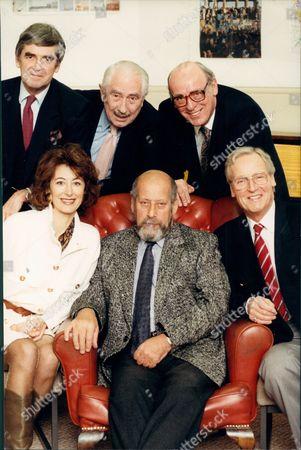 Radio Programme: For Just A Minute. Back Row L-r: Derek Nimmo Peter Jones John Junkin. Front Row L-r: Maureen Lipman Clement Freud And Nicholas Parsons.