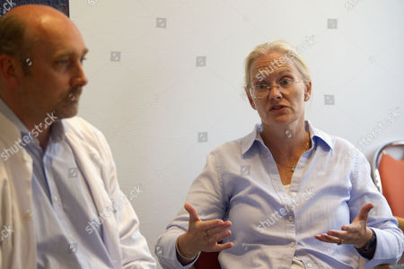 Stock Image of Picture shows (left)Jon Mathisen (head of emergency medicine), Jane Owen, UK Ambassador, at the University Hospital in Tromso, after four severely injured British Schools Exploring Society were attacked by a polar bear whilst on Svalbard