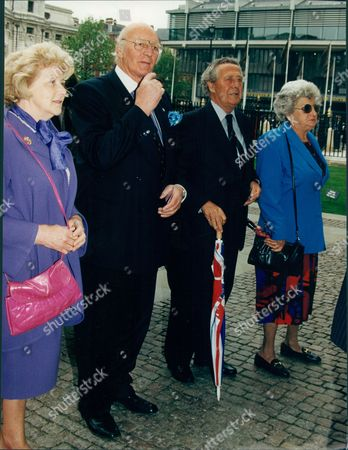Trevor Bailey (right) Ex Cricketer/commentator At The Memorial Service For Brian Johnson At Westminster Abbey.