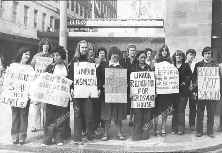 Stock Photo of Ellen Gallagher And Her Gang Of Chambermaids Formed A Picket Line At London's Grosvenor House Hotel In Protest Over The Treatment Of A Member Of Staff. All 15 Of Them Were Sacked Today And Were Given 24 Hours To Vacate Their Live In Accommodation At The Hotel.