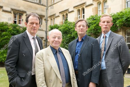Kevin Whately as DI Lewis, Colin Dexter, Douglas Henshall as Alex Gansa and Laurence Fox as DS James Hathaway.
