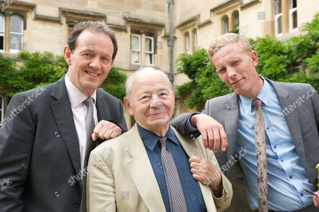 Kevin Whately as DI Lewis, Colin Dexter and Laurence Fox as DS James Hathaway.