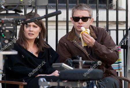 Thomasin Rand and Martin Freeman eating a banana