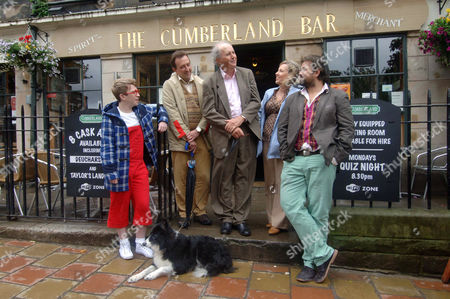 Alexander McCall Smith with cast - Bertie (Clark Devlin, red glasses), Irene Pollock (Rachel Ogilvy), Stuart Pollock (Jack Reid, cardigan), Angus Lordie (Edward Foulton, beard) and Cyril the dog (Corrie)