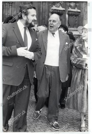 Actor Robert Morley With His Son Sheridan Morley At A Service For Sir Ralph Richardson.