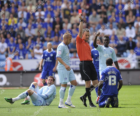 Leicester City's Darius Vassell is sent off for his challenge on Coventry City's Richard Keogh