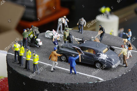 Model of Charles and Camilla being attacked, by Jimmy Cauty