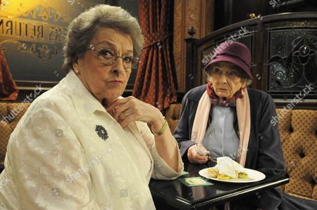 Coronation Street - Thursday 4 February 2010 - Betty Williams' [Betty Driver] party nearly comes to blows when Enid Crump [June Broughton] tells her that she is in fact Manchester's oldest barmaid.