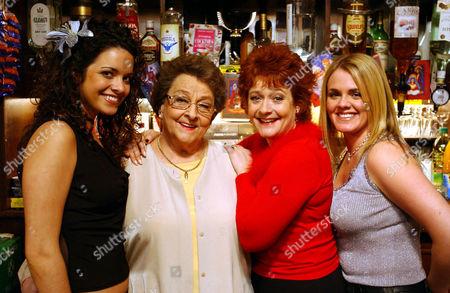 Coronation Street: Sunday 30 December 2001  L-R  Geena Gregory [Jennifer James], Betty Williams [Betty Driver], Eve Elliott (Melanie Kilburn) and Shelley Unwin [Sally Lindsay]