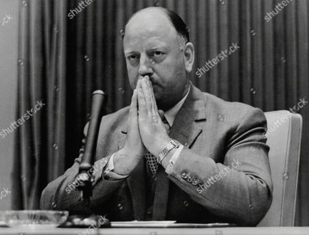 Lord Beeching (doctor Richard Beeching) Chairman Of British Railways Seen Here At Press Conference In Bid To Avoid Strike Action From Unions.
