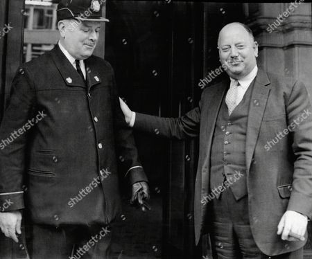 Lord Beeching (doctor Richard Beeching) Leaving His Position As Chairman Of British Railways Says Goodbye To John Hay Senior Commissionaire Of British Railways At Their Marylebone Headquarters.