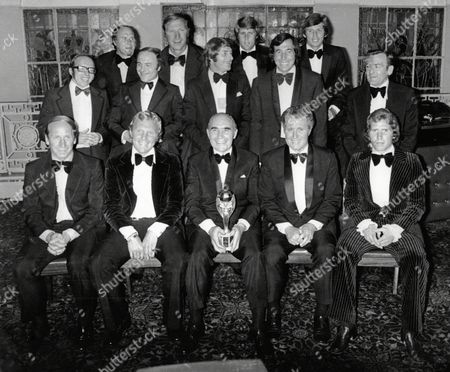 Sir Alf Ramsey With The England 1966 World Cup Team At Cafe Royal For His Testimonial Dinner. Picture Shows Ray Wilson Jack Charlton Geoff Hurst Martin Peters Nobby Stiles George Cohen Roger Hunt Gordon Banks Les Crocker Bobby Charlton Bobby Moore Harold Sheperdson And Aaln Ball.