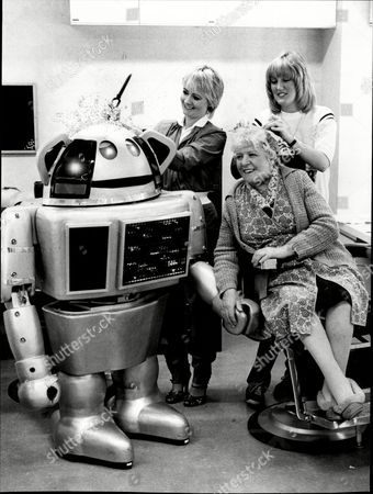 Television Robot Metal Mickey And Actress Irene Handl In Make Up At London Weekend Tv For The New Television Series