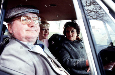 Coronation Street: 1983 Fred Gee [Fred Feast], Bet Lynch [Julie Goodyear] and Betty Turpin [Betty Driver] at Tatton Park when their car rolls into the lake