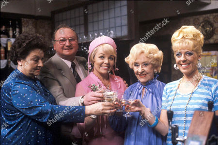 Coronation Street: 1981 Fred Gee (Fred Feast) and Eunice Nuttall (Meg JOhnson)[3rd left] at their wedding reception in the Rovers.  Also pictured Betty Turpin [Betty Driver], Annie Walker [Doris Speed] and Bet Lynch [Julie Goodyear]