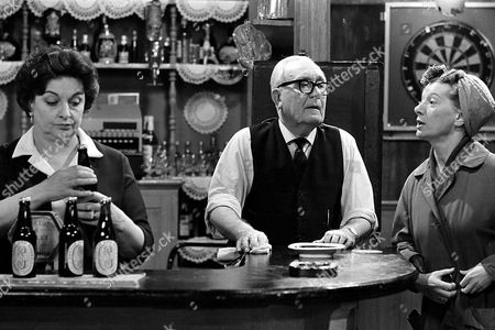 Coronation Street: 1969 L-R: Betty Turpin [Betty Driver], Jack Walker [Arthur Leslie] and Hilda Ogden [Jean Alexander] in the Rovers.