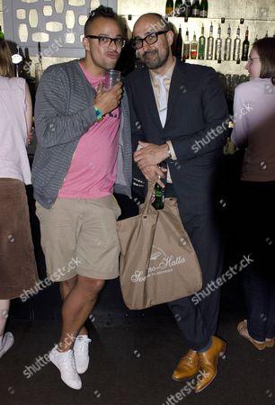 Stock Photo of Bookslam founder Elliott Jack and Hari Kunzru
