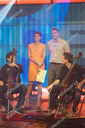 Luka Sulic and Stjepan Hauser with Christine Bleakley and Dan Lobb