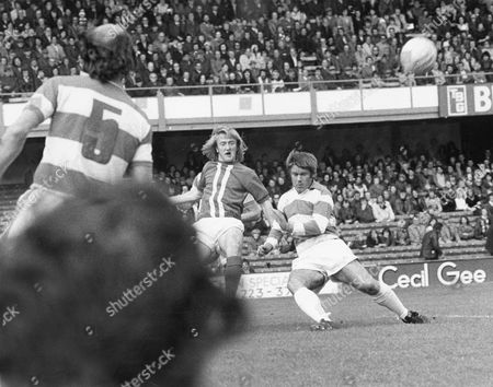 Football 1974/75: Club Game - Queens Park Rangers V Birmingham At Loftus Road. Birmingham's Kenny Burns Is Thwarted By Qpr's Dave Webb As Terry Mancini (no.5) Looks On.