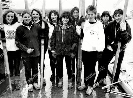 Stock Picture of The Oxford University Womens Rowing Team Left To Right Bernadette Thomas Amanda Bourdillion Susannah Knight Rosamund Bartlett Cox Claire Nightingale Erica Othen Capt Diana Mountain Alison Salvesen And Rachel Barton