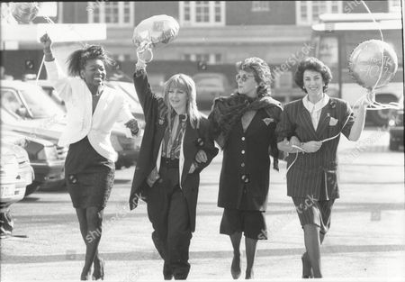 'are We Fit For The Nineties?' Demonstration For International Women's Day. (l-r) Floella Benjamin Toyah Willcox Dorothy Tutin And Edwina Currie.