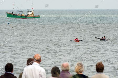 Editorial image of Prince Harry meets members of the Suffolk Foundation and families of participants in the Englandvaarders kayak crossing, Sizewell Beach, Suffolk, Britain - 24 Aug 2011