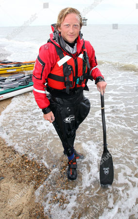 Stock Image of Olly Hicks completes the Englandvaarder crossing and reaches Sizewell Beach
