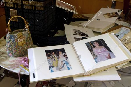 Stock Image of An undated wedding photograph of Gaddafi's daughter Aisha Gaddafi, found in her home