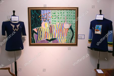 Riva Mann Paul McCartney Wings Sweater  Cocktail Hour painting: Estimate: $4,000-$6,000 Riva Mann David Hockney Sweater. Estimate: $1,500-$2,000
