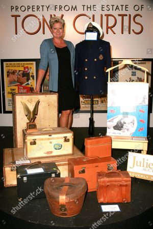 Jill Vandenberg, Tony's 5th wife, with various items, including a yachtsman jacket from Some Like It Hot. Estimate: $10,000-$15,000