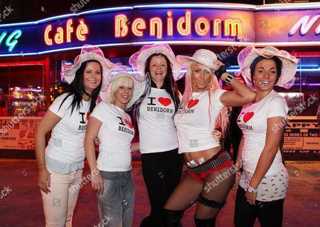 Stock Image of Demmi Hobbs, Katie Bishop, Jody Gagg, Katen Ravenscroft and Mia Jane on a 'Benidorm' TV show themed night out, Benidorm, Spain