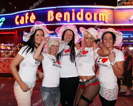 Stock Picture of Demmi Hobbs, Katie Bishop, Jody Gagg, Katen Ravenscroft and Mia Jane on a 'Benidorm' TV show themed night out, Benidorm, Spain