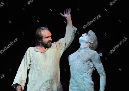 Ralph Fiennes as Prospero and Tom Byam Shaw as Ariel