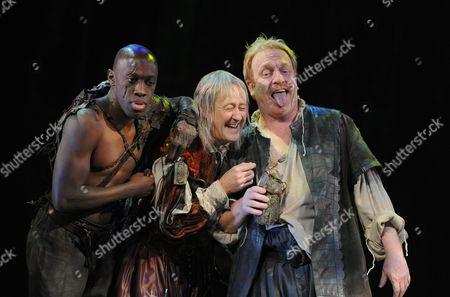 Giles Terera as Caliban, Nicholas Lyndhurst as Trinculo, Clive Wood as Stephano