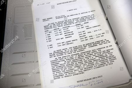 A document in French amongst the thousands of documents found at the office of  Moussa Koussa, once the right hand man of Gaddafi and Libya's foreign intelligence chief , found in one of the foreign ministry buildings in Tripoli