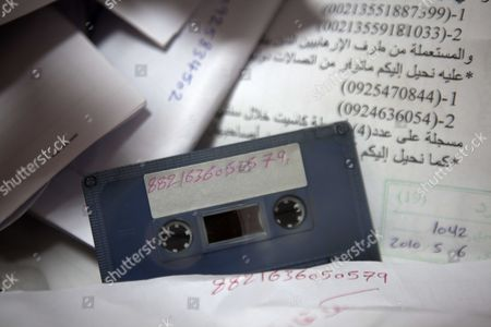 Stock Photo of Tapes, secret  faxes and other documents found at the office of Moussa Koussa, once the right hand man of Gaddafi and Libya's foreign intelligence chief , found in one of the foreign ministry buildings in Tripoli