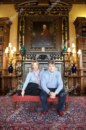 Lord and Lady Carnarvon in the Library at Highclere Castle