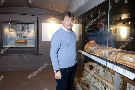 Lord Carnarvon in the Egyptian Museum at Highclere Castle, the fifth Earl of Carnarvon along with Howard Carter discovered Tutankhamun's tomb