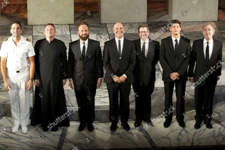 Tom Bateman (Claudio), Derek Howard (Angelo), Alex Beckett (Borachio), John Ramm (Dogberry), Mike Grady (Verges), Lee Knight (Conrade) and Nicholas Lumley (George Seacoal)