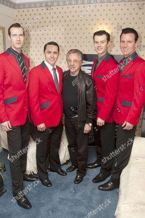 Eugene McCoy (Nick Massi), Ryan Molloy (Frankie Valli), Frankie Valli, Matthew Wycliffe (Bob Gaudio) and Jon Boydon (Tommy DeVito)
