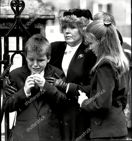 Funeral Of Actor Roy Kinnear At East Sheen His Widow Actress Carmel Wth Two Of Their Children Kirsty And Rory