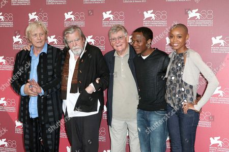 Stock Photo of Rutger Hauer, Michael Lonsdale, director Ermanno Olmi, Blaise Essoua and Irima Pino Viney