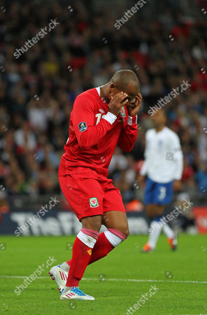 Robert Earnshaw reacts to missing a chance on an open goal
